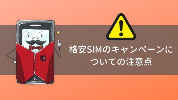 格安SIMのキャンペーンについての注意点の画像